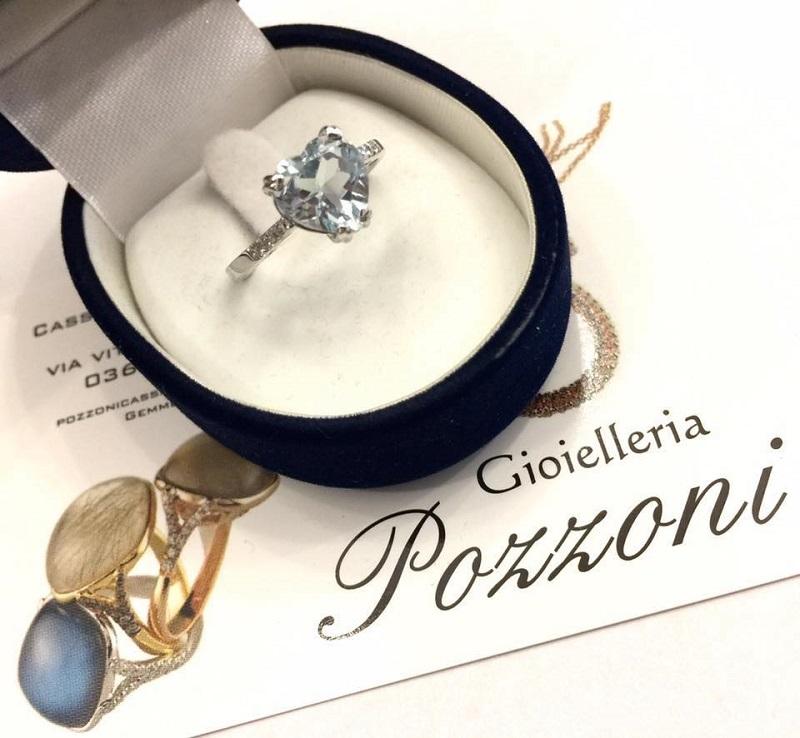 Anello diamante cuore Gioielleria Pozzoni